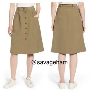 NWT Nordstrom Signature Belted Skirt- Khaki twill